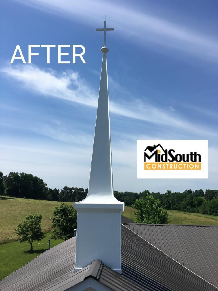 After Church Steeple Cleaning by Commercial Roofing Contractors