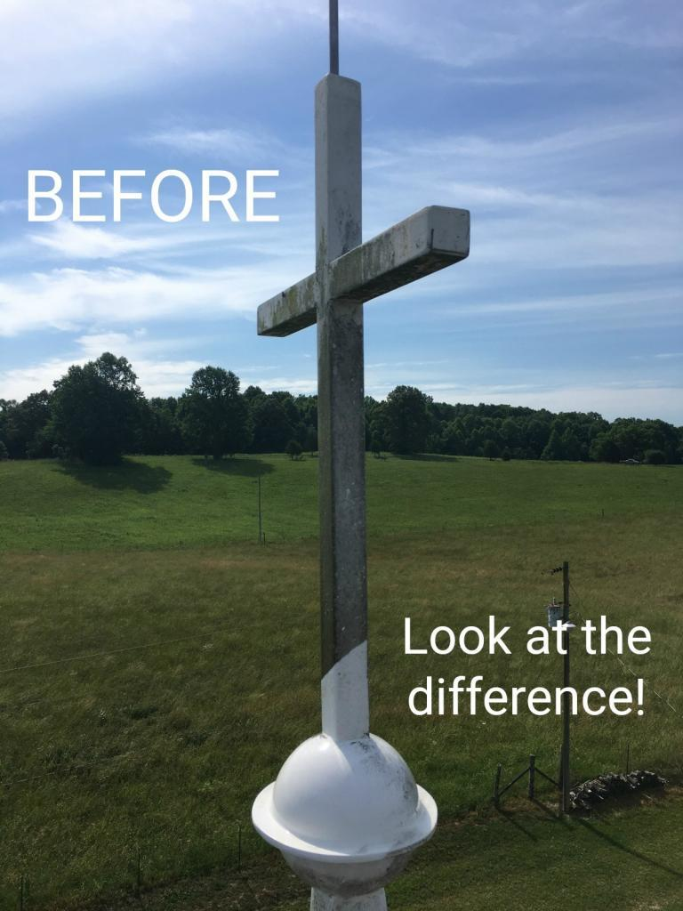 Before and After Church Steeple Cleaning