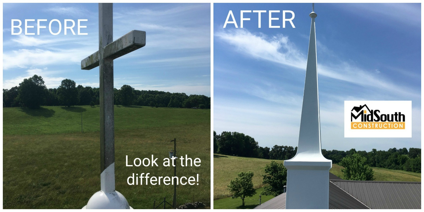 Before and After Steeple Cleaning Photographs